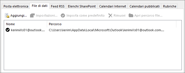Scheda File di dati per Impostazioni account di Outlook che mostra il percorso dei file di dati di Outlook per un utente denominato