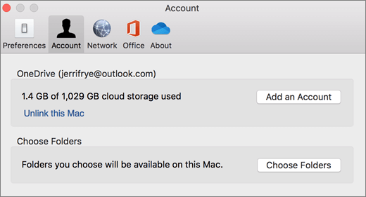 Screenshot dell'aggiunta di un account nelle preferenze di OneDrive in un Mac