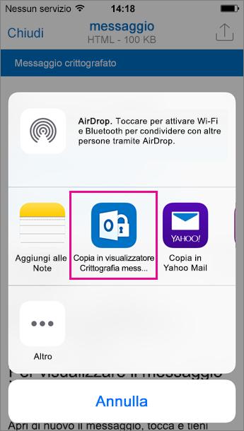 Visualizzatore Crittografia messaggi di Office 365 per Outlook per iOS 3