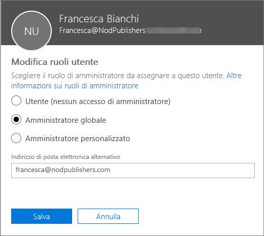 Riquadro Modifica ruoli utente in cui è possibile modificare i ruoli dell'utente e cambiare l'indirizzo di posta elettronica alternativo.