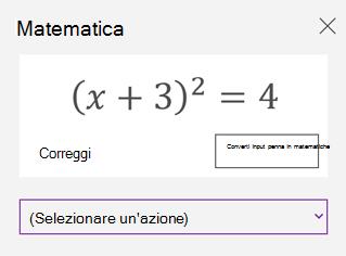 Equazione matematica nel riquadro attività Matematica