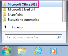 Gruppo di Office 2013 in Tutti i programmi in Windows 7