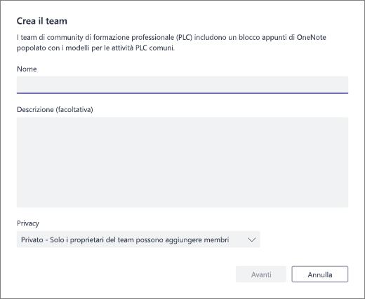 Immettere il nome e una descrizione per il team PLC
