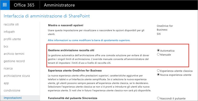 Schermata delle impostazioni di Office 365 SharePoint con Gestione raccolta siti evidenziato