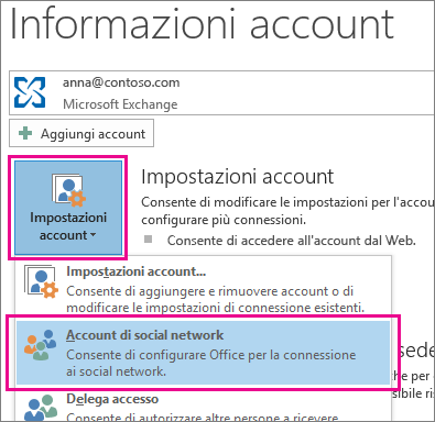 Aggiungere account di social network