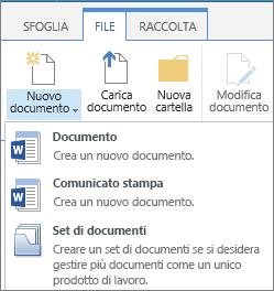 Pulsante nuovo documento con menu a discesa sulla barra multifunzione