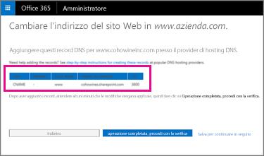 Aggiungere questi record DNS per cambiare l'indirizzo del sito Web