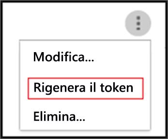 Rigenerare un token facendo clic sui puntini di sospensione per l'agente SIEM