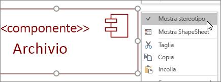 Menu di scelta rapida, comando Mostra stereotipo, etichetta di testo <<componente>>