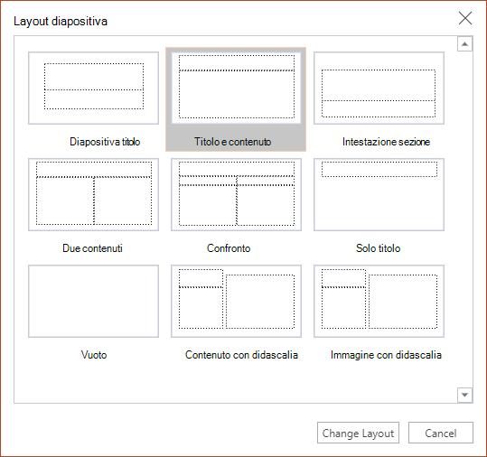 Finestra di dialogo layout diapositiva in PowerPoint per il Web.