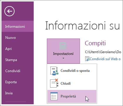 È possibile eseguire l'aggiornamento alla versione più recente di OneNote direttamente dal menu File.