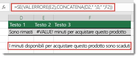 Se e le funzioni di errore usate come soluzione alternativa per concatenare una stringa con la #VALUE! #VALORE!