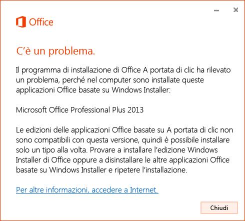 Errore durante il tentativo di installazione A portata di clic su MSI