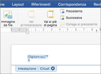 Quando si aggiunge un'immagine, viene mostrata la posizione in un'intestazione o in un piè di pagina