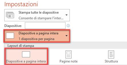 Nel riquadro Stampa fare clic su Diapositive a pagina intera e quindi selezionare Diapositive a pagina intera nell'elenco Layout di stampa.
