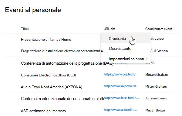 Dal menu intestazione di colonna nella visualizzazione elenco, l'opzione Ordina selezionata nell'esperienza moderna di SharePoint