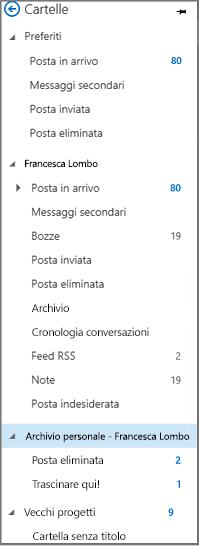"""Riquadro di spostamento di Outlook con l'opzione """"Archivio personale"""" evidenziata"""