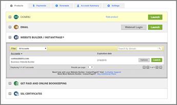 In GoDaddy, Creazione di siti Web/InstantPage