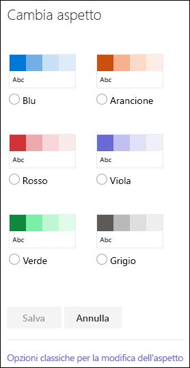Schermata che mostra le opzioni di colori di SharePoint per modificare l'aspetto del sito.