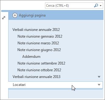 Le pagine con pagine secondarie possono essere compresse ed espanse.
