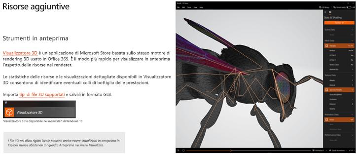 Screenshot della sezione risorse aggiuntive delle linee guida per il contenuto 3D