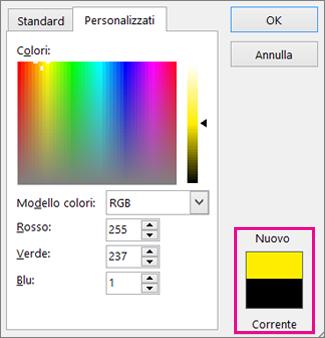 Confronto tra le selezioni colore nuove e corrente