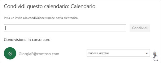 Screenshot della finestra di dialogo Condividi il calendario.