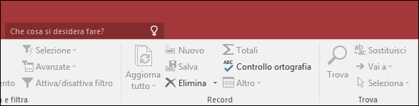 """Casella di ricerca """"Aiutami"""" sulla barra multifunzione di Access"""