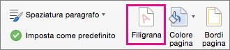 L'icona Filigrana evidenziata nella scheda Progettazione.