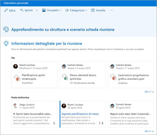 Screenshot della riunione Insights