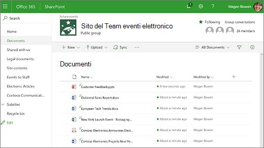 Raccolta di siti del team con i file
