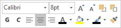 Mini barra degli strumenti o mobile per la modifica del testo