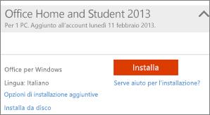 Screenshot di Installa e collegamento Opzioni di installazione aggiuntive