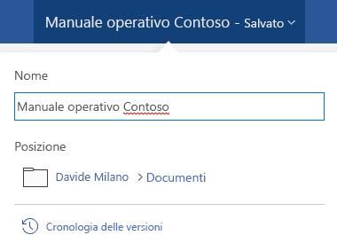 Finestra di dialogo operazioni file attivata facendo clic sul titolo del documento nella parte superiore della finestra.