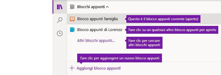 Elenco Blocchi appunti in OneNote per Windows 10