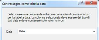 Finestra di dialogo Contrassegna come tabella data