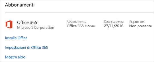 Se la versione di valutazione di Office 365 è stata installata in un nuovo PC, scadrà alla data visualizzata