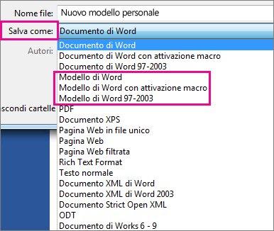 Salvare un documento come modello