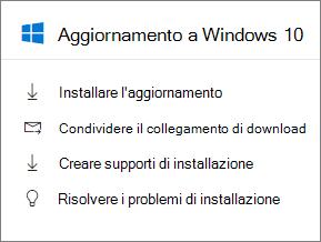 Eseguire l'aggiornamento di Windows 10 scheda nell'interfaccia di amministrazione.
