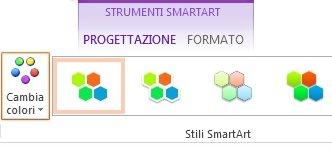 pulsante cambia colori nel gruppo stili smartart