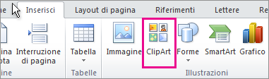 Inserimento di ClipArt in Office 2010