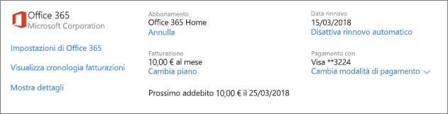 Screenshot della pagina Servizi e abbonamenti con i dettagli relativi a un abbonamento a Office 365 Home.