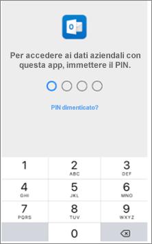 Immettere un PIN nel dispositivo iOS per accedere alle app di Office.