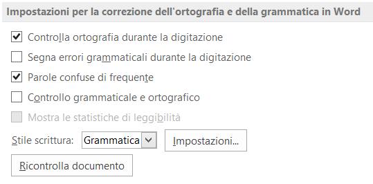 Correzione dell'ortografia e della grammatica in Word