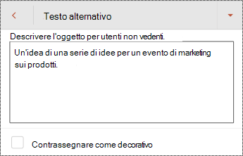 Finestra di dialogo testo alternativo per una forma in PowerPoint per Android.