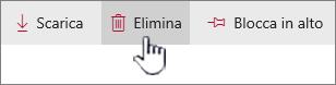 Icona e collegamento Elimina evidenziati nella barra superiore dei collegamenti