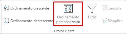 Opzione Ordinamento personalizzato di Excel nella scheda Dati