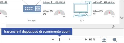 Dispositivo scorrimento zoom nell'angolo in basso a destra con i pulsanti - e +, 67%