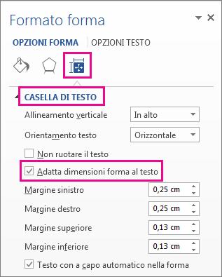 Selezione di Adatta dimensioni forma al testo nel riquadro Formato forma