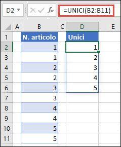 Esempio di utilizzo = UNIQUE (B2: B11) per restituire un elenco univoco di numeri